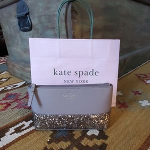Kate Spade Greta Court Make up Case Gray Glitter